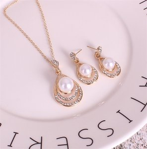 Fashion Pearl Jewelry set Women wedding Crystal Drip shape Pendant Silver Necklaces Dangle Earrings For Ladies Bride engagement Gift 304 G2