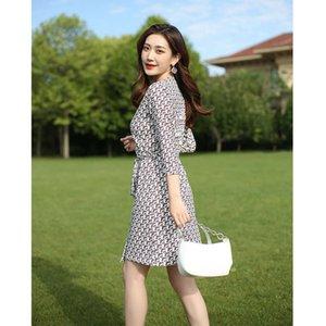 2021 designer fashion women's PG DVF wrap Korean summer holiday beach skirt slim lace up dress for women