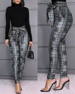 Women's & Capris Grid Design Casual Women Plaid Skinny Fit Bow Tied Hight Waist Pencil Pants