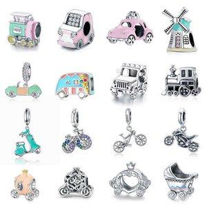WOSTU Colorful Charm 925 Sterling Silver Pumpkin Car Bead Bicycle Zirconia Enamel Pendant Fit Original Bracelet DIY Jewelry