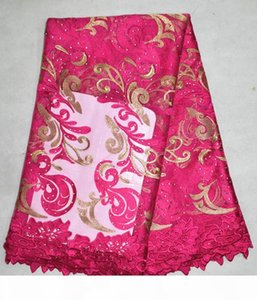 Fashionbale pattern african net lace match stones water soluble lace with fuchsia french mesh lace fabric for clothing BN24-1