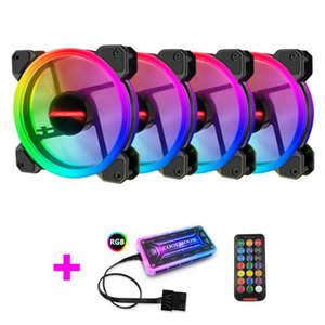 Heatsink 12cm RGB PC Cooling Fan Case 6 Pin Quiet Cooler Radiator With Controller Kit For Desktop Computer Fans & Coolings