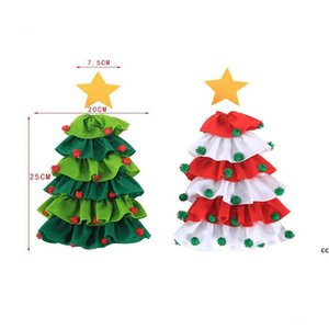 Christmas Decorations Christmas Tree Sticky Ball Red Wine Bottle Covers Mini Xmas Apron WineBottle Cover DHD10676