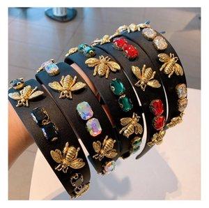 big girls baroque diamond bees hairs sticks Hair Accessories children rhinestones velvet hairbands women narrow headband 538