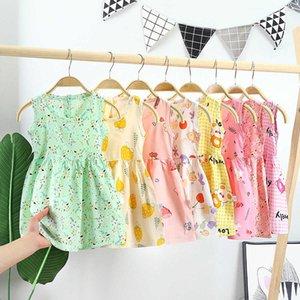 wear 2021 summer new dress Children's princess skirt girls' cotton silk thin nightdressAXD5