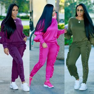 Women 2 Piece Set 2020 Autumn Winter Sweatsuit Long Sleeve Ruffle Top+Pants Track Suits Casual Tracksuits Two Piece Set