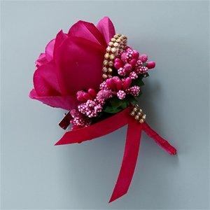 Bianco rosso uomo corpetto per lo sposo Groomsman seta rosa fiore vestito nuziale boutonnieres accessori pin spilla decorazione forniture 519 v2