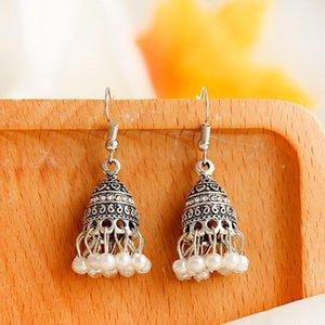 Antique Sliver Bell Dangle Ethnic Jhumka Earrings For Women Vintage Bohemian White Beads Tassel Earring Oorbellen & Chandelier