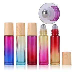زجاجات أسطوانة سميكة 10ML لفة على زجاجة مع غطاء من البلاستيك الحبوب الخشب والكرة التدرج الكرة غير القابل للصدأ للزيوت الأساسية