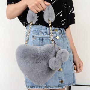 2021 Faux Purse Love handbag plush heart-shaped shoulder Winter female Cute Clutch Chain Messenger bag Ladies Crossbody
