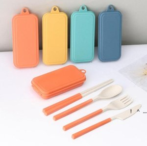 Folding Cutlery Set Removable Knife Fork Spoon Chopsticks Creative Wheat Straw Portable Picnic Tool FWC7364