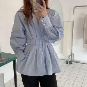 Diseño de mujeres sexy pequeña pequeña perla hebilla burbuja camisa