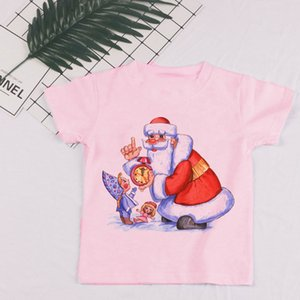 Kids Girl T Shirt Summer Baby Pink Christmas Tops Toddler Tees Clothes Children Clothing Cartoon T-shirts Short Sleeve Casual