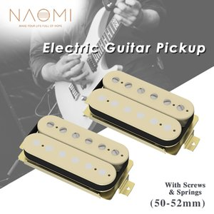NAOMI 2pcs Ceramic Open Style Guitar Humbucker Pickup Bridge & Neck Set w  Half Adjustable & Half Non-adjustable Pole Pieces