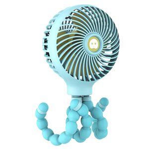 Mini Portable Hanging fan Octopus Shape Stand Adjustable Handheld USB Charging Fan Cooler for Baby Stroller Student desktop fan