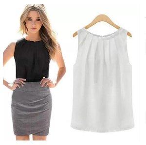 Women Blouses Roupas Femininas Tropical Sexy Fold Sleeveless Chiffon Plus Size Ladies Casual Tops Clothing