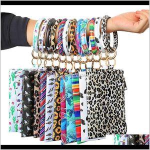 Party Favor Pu Keychain Wallet Leather Tassel Pendant Handbag Leopard Sunflower Print Bracelet Ladies Bag Gift Xtxg5 Gf9Wu