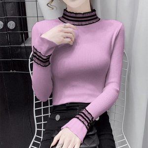 Korean Clothes Spring Autumn Flare Sleeve Winter Women Fashion Brand Lace-up Knitted Pullovers Solid Sweaters Women's