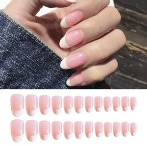 False Nails 24Pcs Pink Round Head Fake Nail Patch Simple French Full Cover Artificial Natural Extension Style Tools