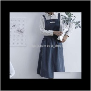Textiles Home Garden Drop Delivery 2021 Pleated Skirt Design Apron Simple Washed Cotton Uniform Aprons For Woman Ladys Kitchen Cooking Garden