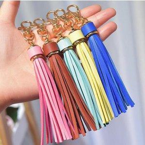Tassel KeyRing Rainbow Coloré 15mm En Cuir Gold Keychains Sac Charm Charme Voiture Clé Chaîne 22 Couleurs à choisir