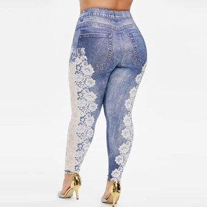 Womens Plus Size Leggings Warm Cowboy Printing Elastic Waist Casual Leggings Pants Legging Feminina Blue Women's Leggings