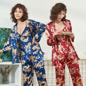 Women's Sleepwear Ice spring and autumn lovers pajamas Dragon Robe printed silk home wear three piece suit