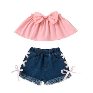 Kids Outfits Girls Sets Baby Suits Summer Bowknot Tops Jeans Shorts 2Pcs Cute Children Clothes Child Wear 2-6T B4630
