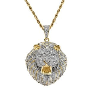 Mens Jewelry Hip Hop Designer Necklace Bling Diamond Lion Animal Rapper DJ Accessories