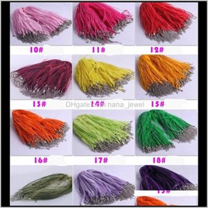 Cord Wire Findings Components Drop Delivery 2021 Fashion 100Pcslot 18Colors Organza Voile Ribbon Necklaces Pendants Chains 31 18 44Cm Jewelry