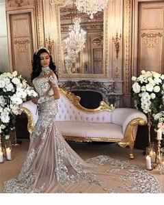 Luxury Sexy Mermaid Wedding Dresses with Detachable Train Lace Appliques Rhinestone Over Skirt Bridal Gowns Removable Skirt High Neck Cheap