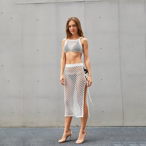 Europe and the United States 2021 summer new sleeveless hollow loose cotton knitting two-piece set casual sexy vacation set women