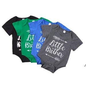 Bebek Bebek Erkek Giysileri Romper Kız Mektup Baskı Kısa Kollu Tulum Babys Tırmanma 100% Pamuk Yaz Kumaş DWC7373