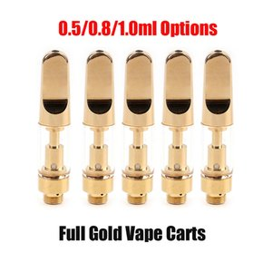 Full Gold Vape Cartridges Atomizer 0.5ml 0.8ml 1.0ml Thick Oil Carts Ceramic Coil Pyrex Glass Tank for 510 Thread Battery Pen