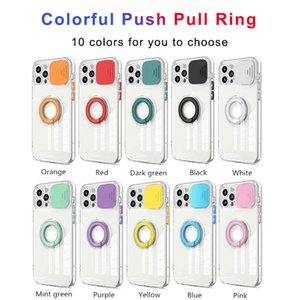 Transparent Phone Cases For iPhone 12 11 Pro Max Xs Xr 7 8 Plus With Ring Holder Shockproof Push Window Camera Protection Cover