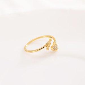 حلقات الحب جميل 10 كيلو ct غرامة الصلبة التايلاندية باهت الذهب الدائري تشيكوسلوفاكيا قابل للتعديل حجم فتح الدائري لطيف على شكل قلب مجوهرات امرأة