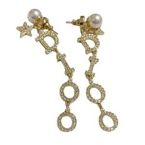 star geometric fashion S925 silver needle pearl new earrings net red letter Earrings