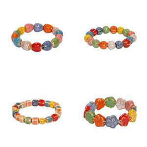 New lovely cute bohemian colorful ceramic stone beaded bracelet fashion popular charm bracelet for woman girls students