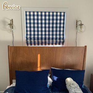 Blinds Modern Blue Plaid Full Blackout Light Filter Roman Shades ,Easy Install Washable Curtains ,Customized Window Curtain Drape