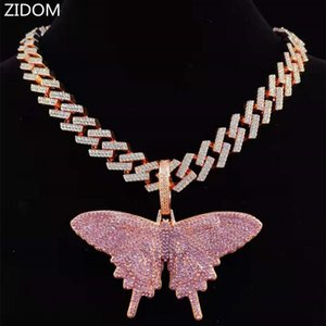 Big Size Zircon Men Hip Hop Butterfly Pendant Necklace With 13mm Cuban Chain Iced Out Bling HipHop Women Jewelry Necklaces