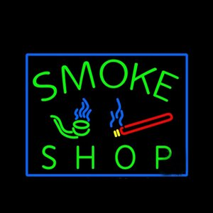 SMOKE SHOP Pipes Smoking Neon Sign Custom Handmade Real Glass Tube Beer Bar KTV Store Motel Hotel Pub Display Neon Signs 17X14