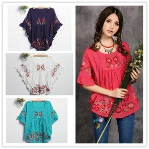 Blusas FemininiS 2021 Старинные этнические цветочные вышивки Высокая уличная Блузка Хлопковая половина рукава Гиппи Блузка