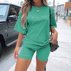 T-shirt 2021 new letter printing fashion loose thin leisure sports two piece suit for women