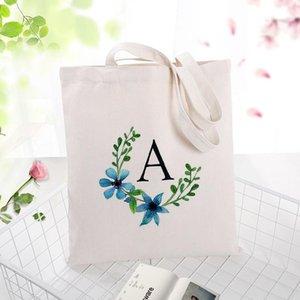 Торговые сумки Художественная буква дизайн Синий серия A-E Печать Print Canvas Tote Bag Eco Reouth Daily Daily Используйте сумочку