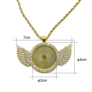 Sublimation Necklace Sublimation Blanks Diamond Necklaces Angel Wings Thermal Transfer Pendant Metal Customize Gift OWE7016