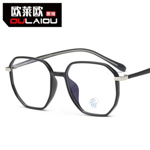 Polygonal Anti Blu Ray Computer Glasses Diopterless Flat Light New Tr90 Large Inserted Core Leg Myopia Frame for Men and Women