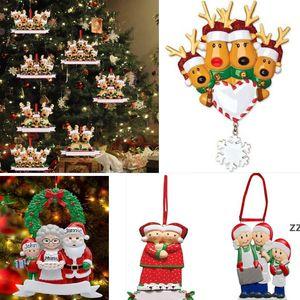 Christmas Ornament DIY Name Blessings Xmas Tree Hanging Pendant Decoration Family of 2 3 4 5 6 7 And 8 Cute Santa Deer HWB10253