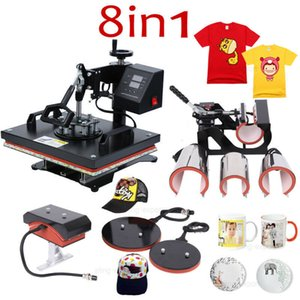 8 in 1 Combo press Sublimation Print Heat Transfer Machine for Cap Mug Plate T-shirts 12X15 inch B78J