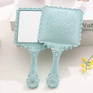 Retro Decorative Pattern Mirror Handle Flower Print High Definitionfold Square Mirrors Beauty Salon Portable Gift For Girl Women OWD9405