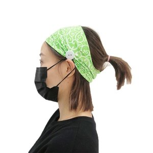 Women's Fitness Gym Hair Band Wide Yoga Training Headband Anti-Leash With Button For Sports Running Can Hold Mask 2021 Bands